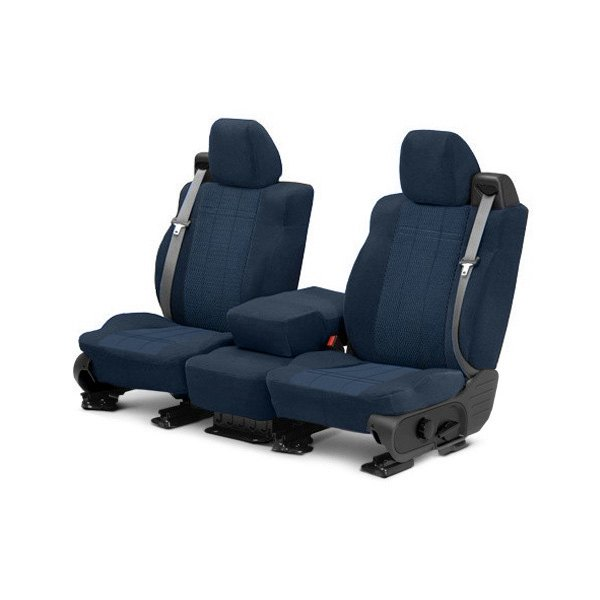 Image may not reflect your exact vehicle! CalTrend® - Front Velour Blue Classic Trim with Monarch Insert Custom Seat Covers