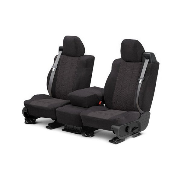 Image may not reflect your exact vehicle! CalTrend� - Velour Charcoal with Monarch Insert Custom Seat Covers