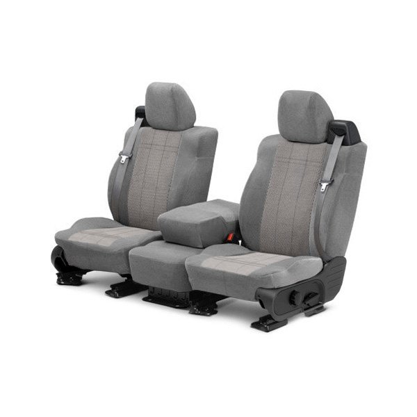 Image may not reflect your exact vehicle! CalTrend® - Front Velour Light Gray Classic Trim with Monarch Insert Custom Seat Covers