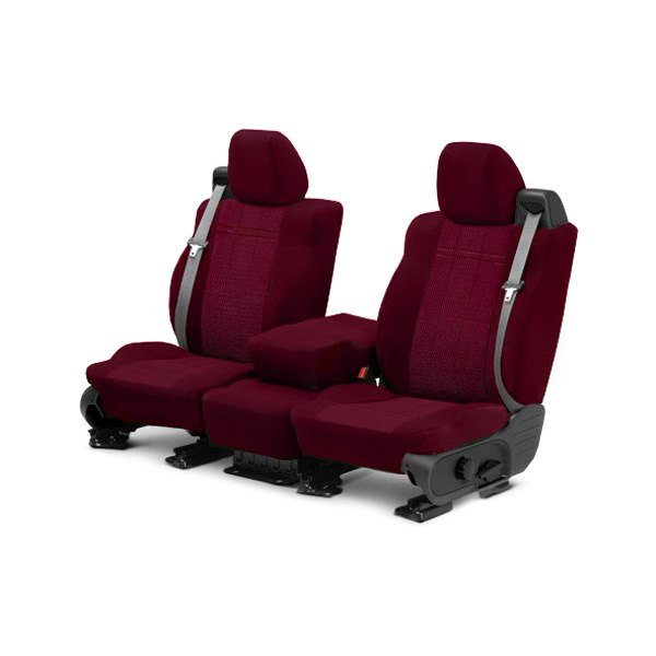 Image may not reflect your exact vehicle! CalTrend® - Front Velour Red Classic Trim with Monarch Insert Custom Seat Covers