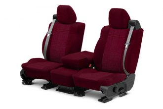 CalTrend® - 1st Row O.E. Velour Red Classic Trim & Monarch Insert Custom Seat Covers