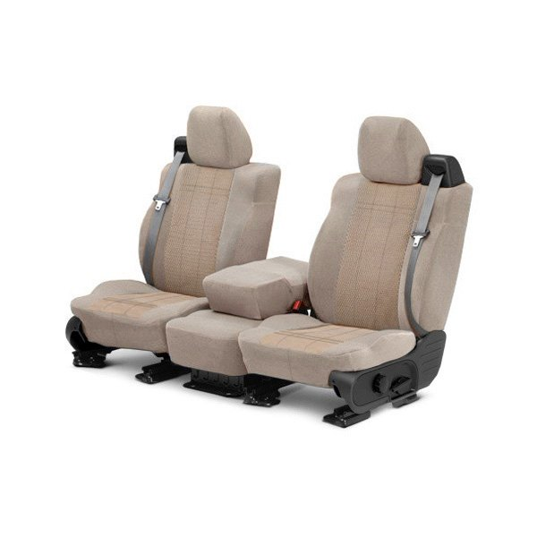 Image may not reflect your exact vehicle! CalTrend® - Front Velour Sandstone Classic Trim with Monarch Insert Custom Seat Covers