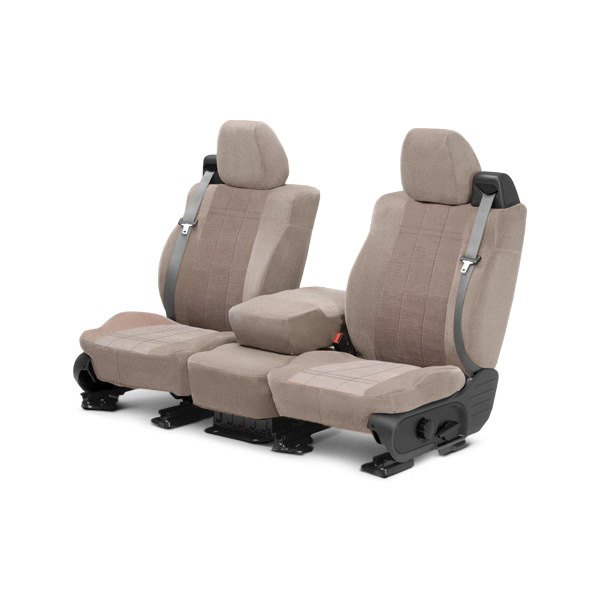 Image may not reflect your exact vehicle! CalTrend® - Front Velour Beige Classic Trim with Premier Insert Custom Seat Covers