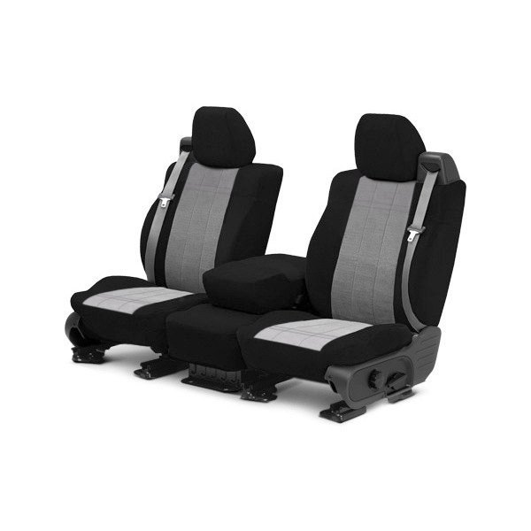 Image may not reflect your exact vehicle! CalTrend® - Front Velour Black Classic Trim with Premier Insert Custom Seat Covers