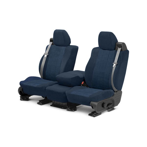 Image may not reflect your exact vehicle! CalTrend® - Front Velour Blue Classic Trim with Premier Insert Custom Seat Covers
