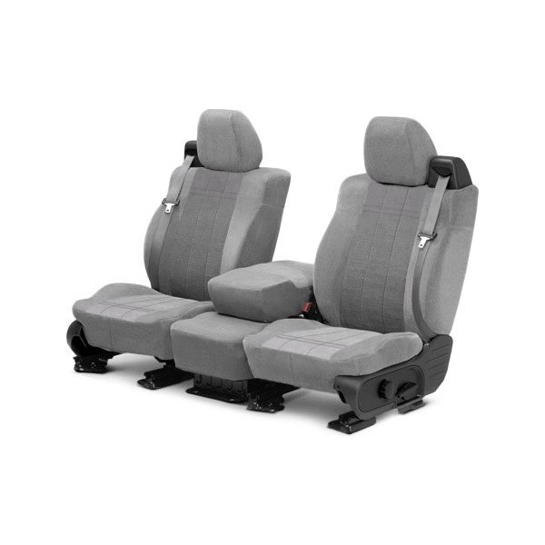 Image may not reflect your exact vehicle! CalTrend® - Front Velour Light Gray Classic Trim with Premier Insert Custom Seat Covers