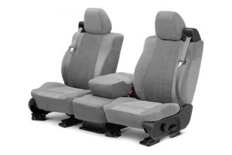 CalTrend® TY223-08RR - Front Row Velour Light Gray Classic Trim with Premier Insert Custom Seat Covers