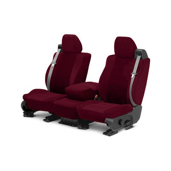 Image may not reflect your exact vehicle! CalTrend® - Front Velour Red Classic Trim with Premier Insert Custom Seat Covers