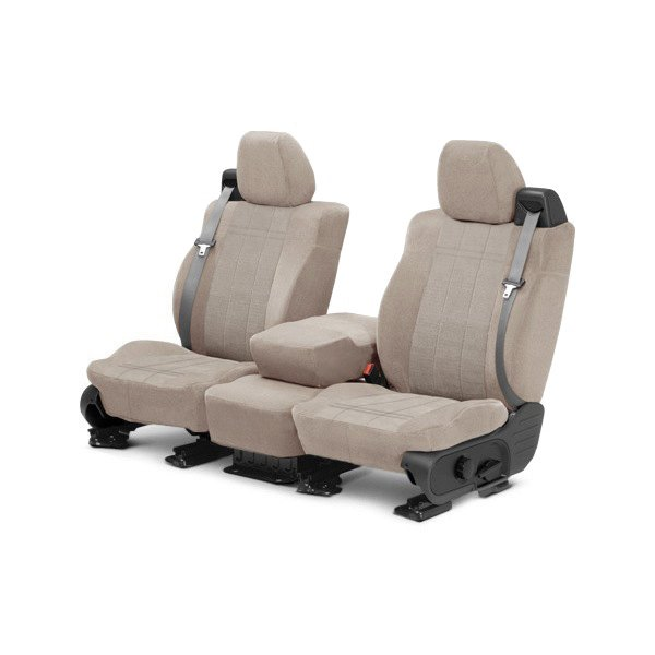 Image may not reflect your exact vehicle! CalTrend® - Front Velour Sandstone Classic Trim with Premier Insert Custom Seat Covers
