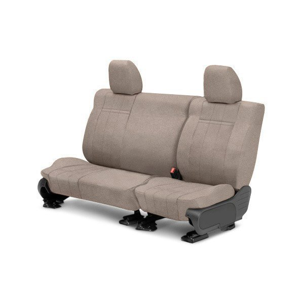 Image may not reflect your exact vehicle! CalTrend® - Rear Velour Beige Classic Trim with Classic Insert Custom Seat Covers
