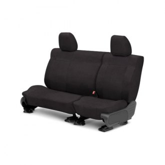 Image may not reflect your exact vehicle! CalTrend® - Rear Velour Charcoal Classic Trim with Classic Insert Custom Seat Covers