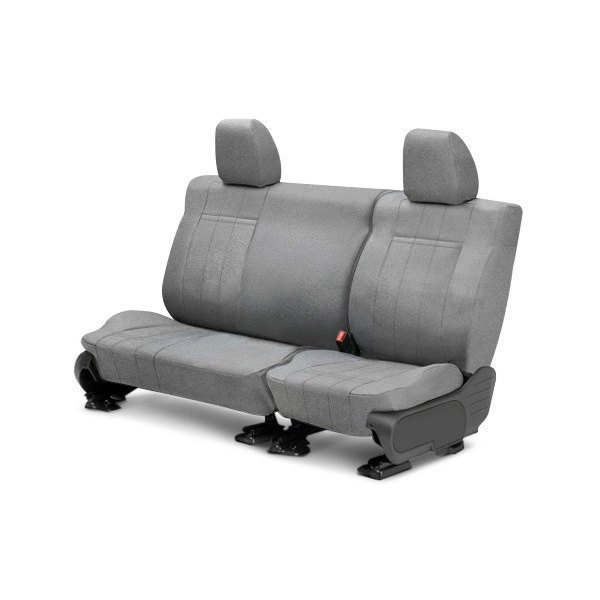 Image may not reflect your exact vehicle! CalTrend® - Rear Velour Light Gray Classic Trim with Classic Insert Custom Seat Covers
