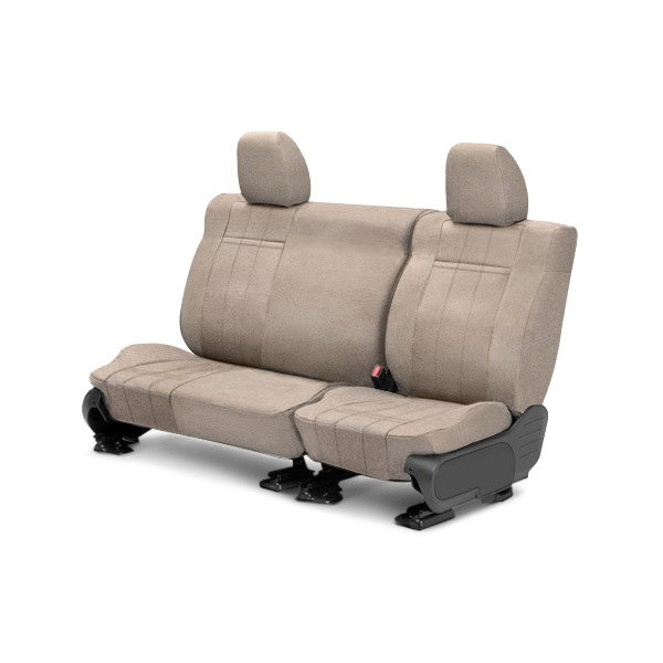 Image may not reflect your exact vehicle! CalTrend® - Rear Velour Sandstone Classic Trim with Classic Insert Custom Seat Covers