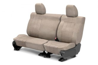 CalTrend® CV373-06RA - Rear Row O.E. Velour Beige Classic Trim with Classic Insert Custom Seat Covers