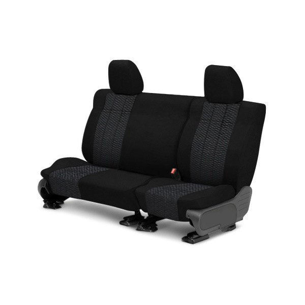 Image may not reflect your exact vehicle! CalTrend® - Rear Velour Black Classic Trim with Monarch Insert Custom Seat Covers