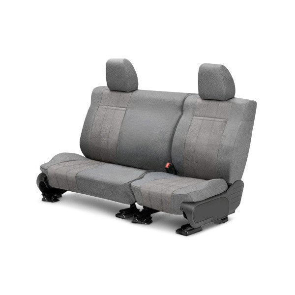 Image may not reflect your exact vehicle! CalTrend® - Rear Velour Light Gray Classic Trim with Monarch Insert Custom Seat Covers