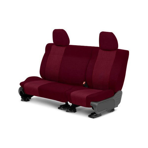 Image may not reflect your exact vehicle! CalTrend® - Rear Velour Red Classic Trim with Monarch Insert Custom Seat Covers