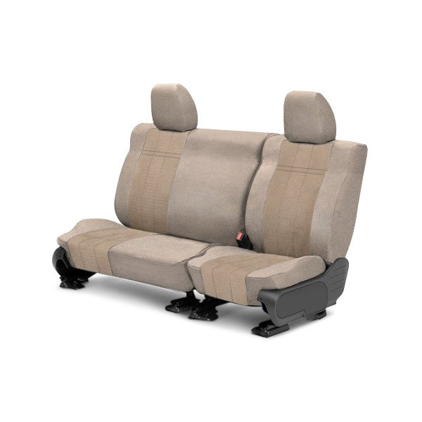 Image may not reflect your exact vehicle! CalTrend® - Rear Velour Sandstone Classic Trim with Monarch Insert Custom Seat Covers