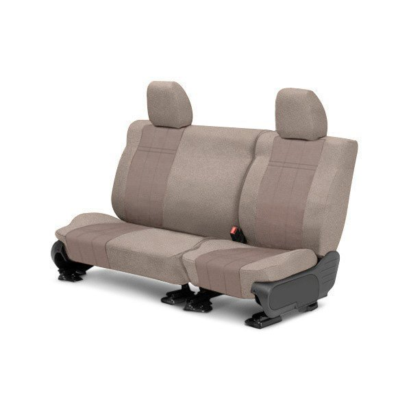 Image may not reflect your exact vehicle! CalTrend® - Rear Velour Beige Classic Trim with Premier Insert Custom Seat Covers