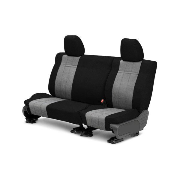 Image may not reflect your exact vehicle! CalTrend® - Rear Velour Black Classic Trim with Premier Insert Custom Seat Covers