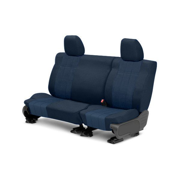 Image may not reflect your exact vehicle! CalTrend® - Rear Velour Blue Classic Trim with Premier Insert Custom Seat Covers