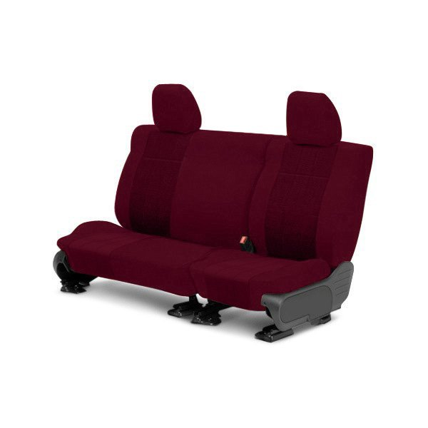 Image may not reflect your exact vehicle! CalTrend® - Rear Velour Red Classic Trim with Premier Insert Custom Seat Covers