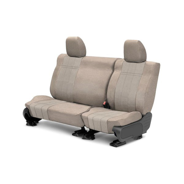 Image may not reflect your exact vehicle! CalTrend® - Rear Velour Sandstone Classic Trim with Premier Insert Custom Seat Covers