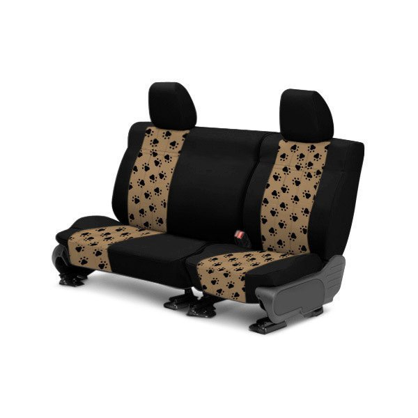 CalTrend® - 2nd Row Pet Print Black & Beige Custom Seat Covers
