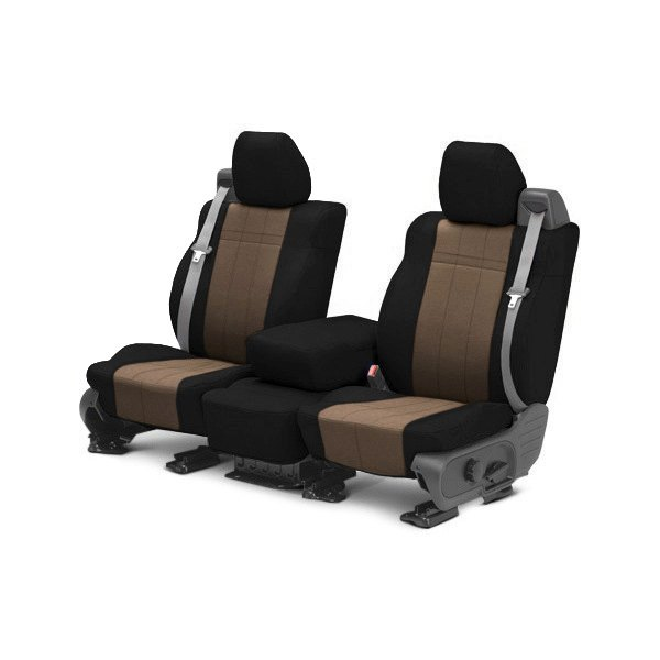 Image may not reflect your exact vehicle! CalTrend® - 1st Row SportsTex Black with Beige Custom Seat Covers