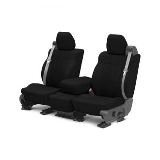 Image may not reflect your exact vehicle! CalTrend® - 1 Row SportsTex Black Custom Seat Covers