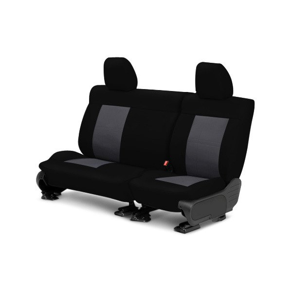 Image may not reflect your exact vehicle! CalTrend® - Center SportsTex Black with Charcoal Custom Seat Covers