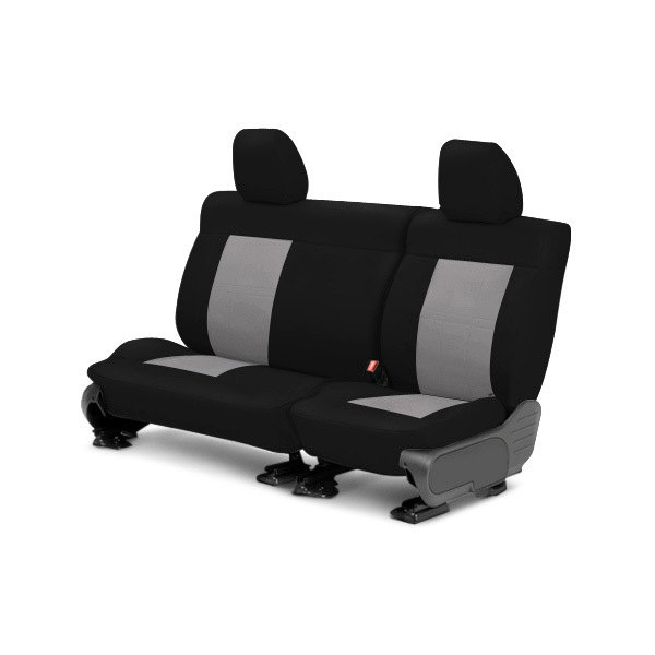 Image may not reflect your exact vehicle! CalTrend® - Center SportsTex Black with Light Gray Custom Seat Covers