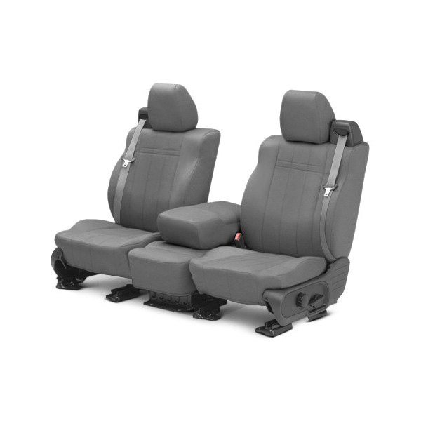 Image may not reflect your exact vehicle! CalTrend® - 1st Row SportsTex Light Gray Custom Seat Covers