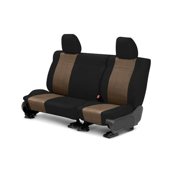 Image may not reflect your exact vehicle! CalTrend® - Rear SportsTex Black with Beige Custom Seat Covers
