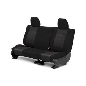 Image may not reflect your exact vehicle! CalTrend® - Rear SportsTex Black with Charcoal Custom Seat Covers