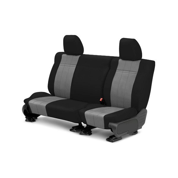 Image may not reflect your exact vehicle! CalTrend® - Rear SportsTex Black with Light Gray Custom Seat Covers