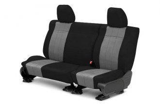 Image may not reflect your exact vehicle! CalTrend® - 2nd Row SportsTex Black with Light Gray Custom Seat Covers