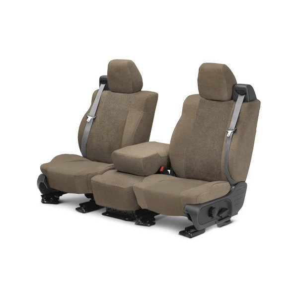 Image may not reflect your exact vehicle! CalTrend® - 1st Row SuperSuede Beige Custom Seat Covers