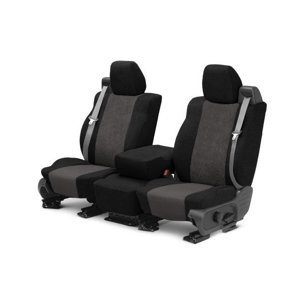 Image may not reflect your exact vehicle! CalTrend® - Front SuperSuede Black with Charcoal Custom Seat Covers