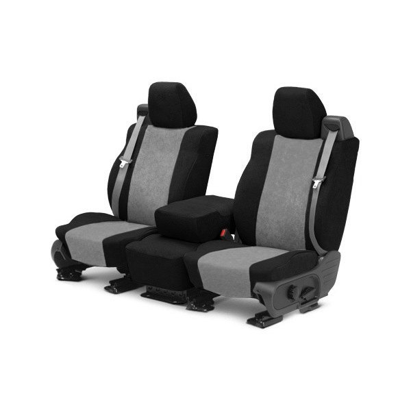 Image may not reflect your exact vehicle! CalTrend® - 1st Row SuperSuede Black & Light Gray Custom Seat Covers