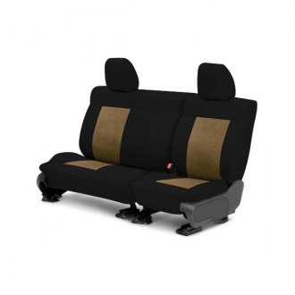 Image may not reflect your exact vehicle! CalTrend® - Center SuperSuede Black with Beige Custom Seat Covers