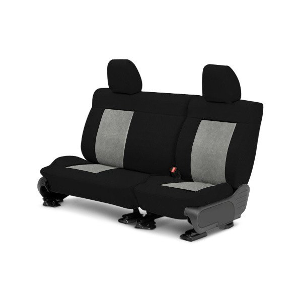 Image may not reflect your exact vehicle! CalTrend® - Center SuperSuede Black with Light Gray Custom Seat Covers
