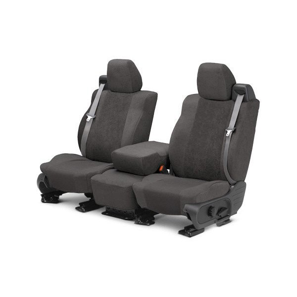 Image may not reflect your exact vehicle! CalTrend® - Front SuperSuede Charcoal Custom Seat Covers