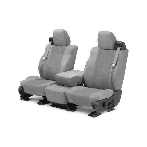 Image may not reflect your exact vehicle! CalTrend® - 1st Row SuperSuede Light Gray Custom Seat Covers