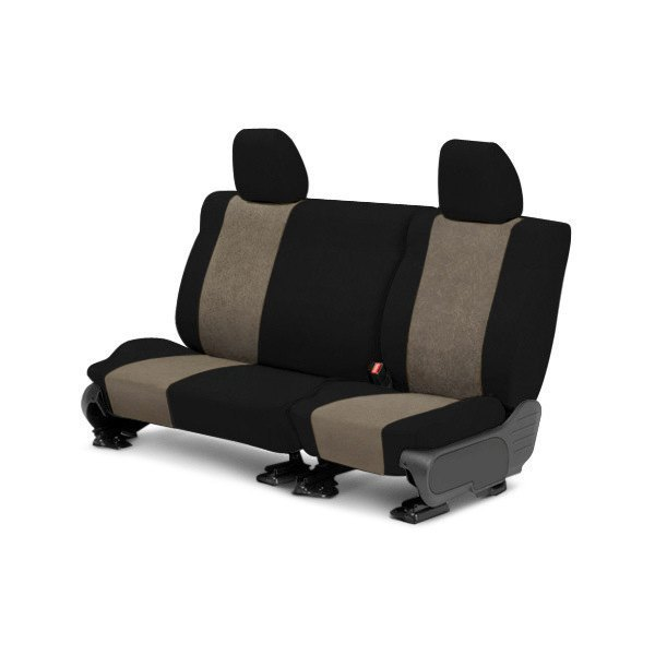 Image may not reflect your exact vehicle! CalTrend® - 2nd Row SuperSuede Black with Beige Custom Seat Covers
