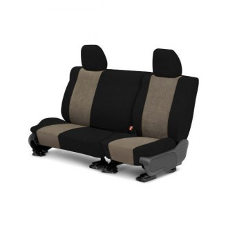 Image may not reflect your exact vehicle! CalTrend® - Rear SuperSuede Black with Beige Custom Seat Covers
