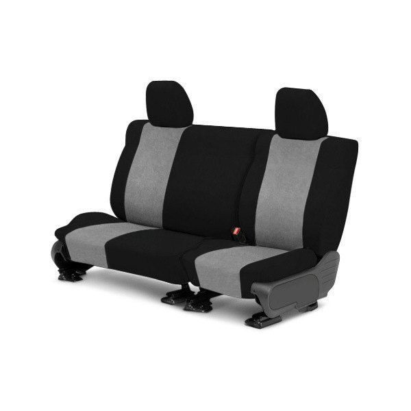 Image may not reflect your exact vehicle! CalTrend® - 2nd Row SuperSuede Black with Light Gray Custom Seat Covers