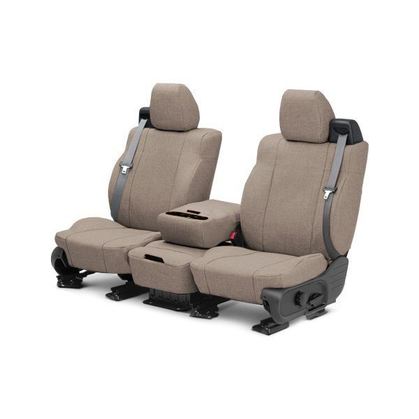Image may not reflect your exact vehicle! CalTrend® - Front Tweed Beige Custom Seat Covers