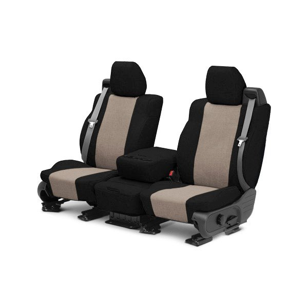 CalTrend® - 1st Row Tweed Black & Beige Custom Seat Covers