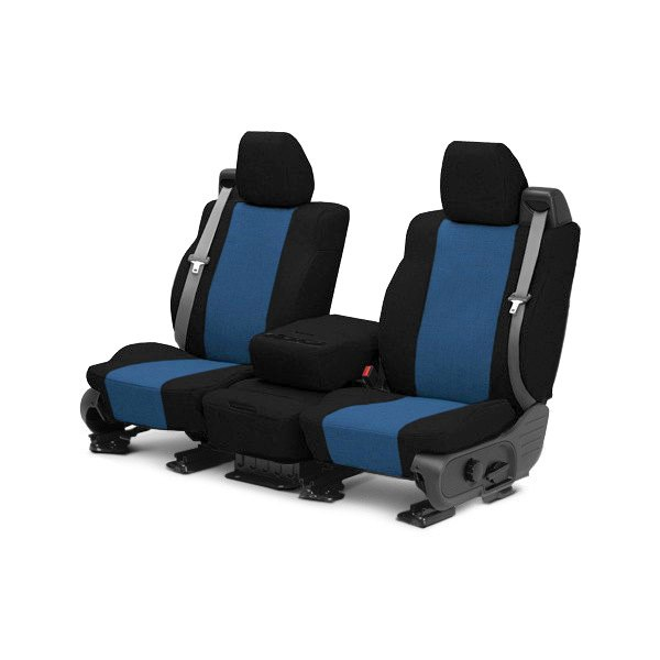 Image may not reflect your exact vehicle! CalTrend® - 1st Row Tweed Black with Blue Custom Seat Covers